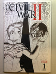 Civil War 2 #1 NM, Marquez Sketch Variant, Captain Marvel Cover, Signed 2x
