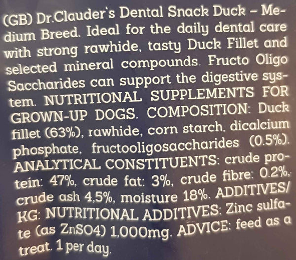 Dr. Clauder's Dental Snack Duck 170gr