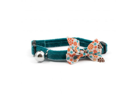 Ancol Vintage Bow Safety Cat Collar  teal