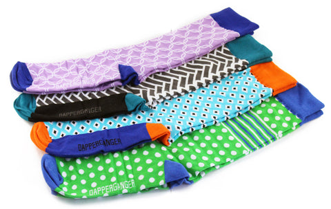8 Pack Fun Socks - BLUE