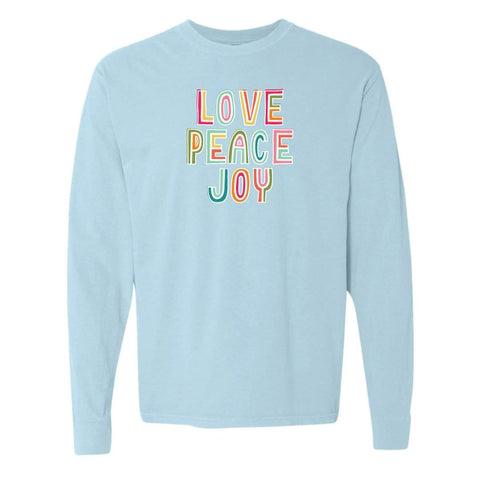 Peace Love Joy Adult Long Sleeve Tee