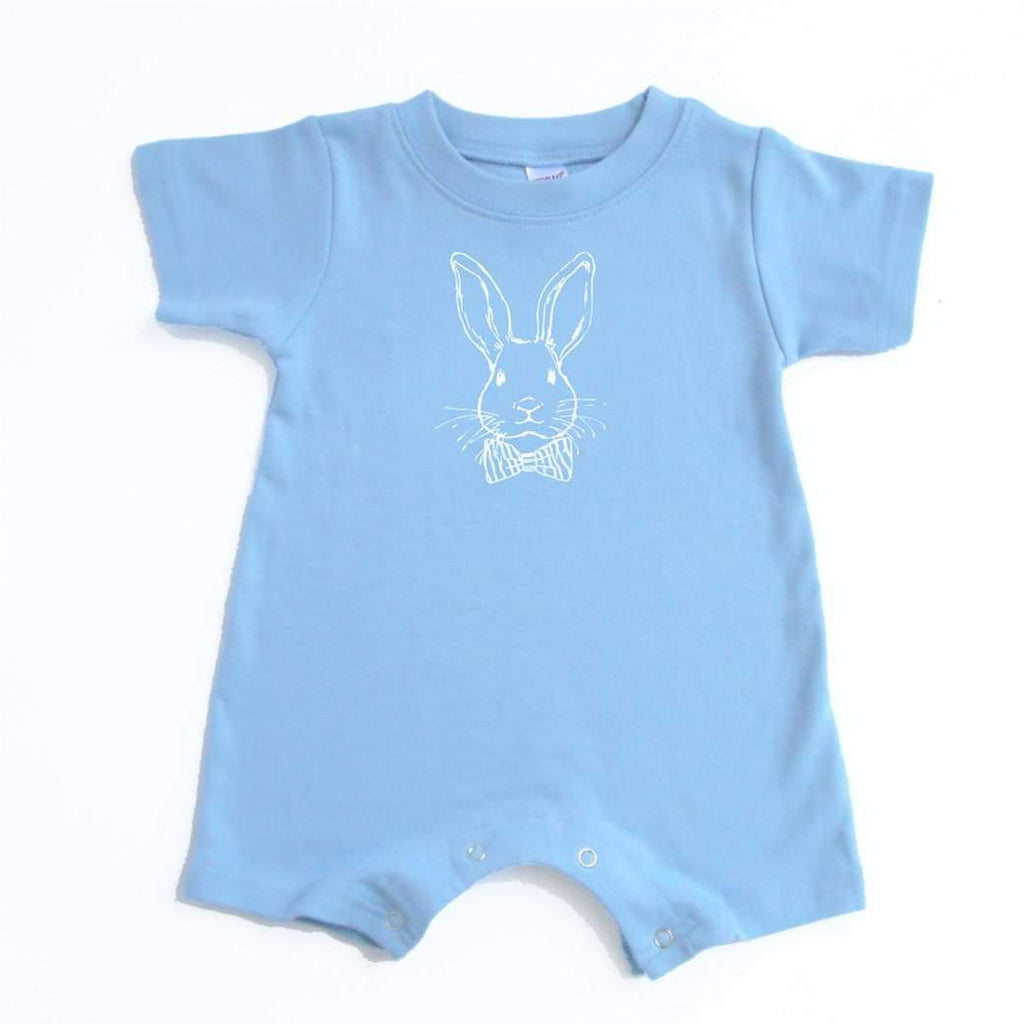 Bow Tie Bunny Short Sleeve Infant Romper