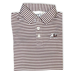 Bulldog Maroon Striped Polo