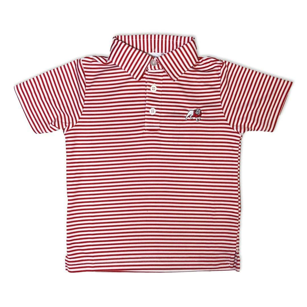 Bulldog Red Striped Polo