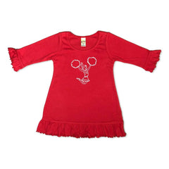 Cheerleader 3/4 Ruffle Sleeve Tunic