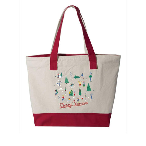 Skaters on Ice Zipper Tote