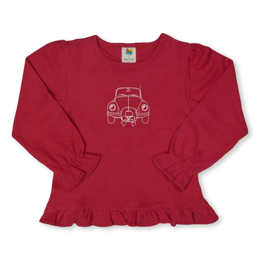 Christmas Ride Long Sleeve Ruffle Tee