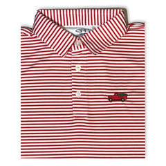 Christmas Truck Red Striped Polo