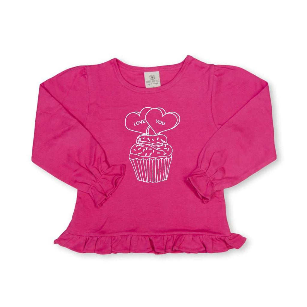 Conversation Cupcake Long Sleeve Ruffle Tee