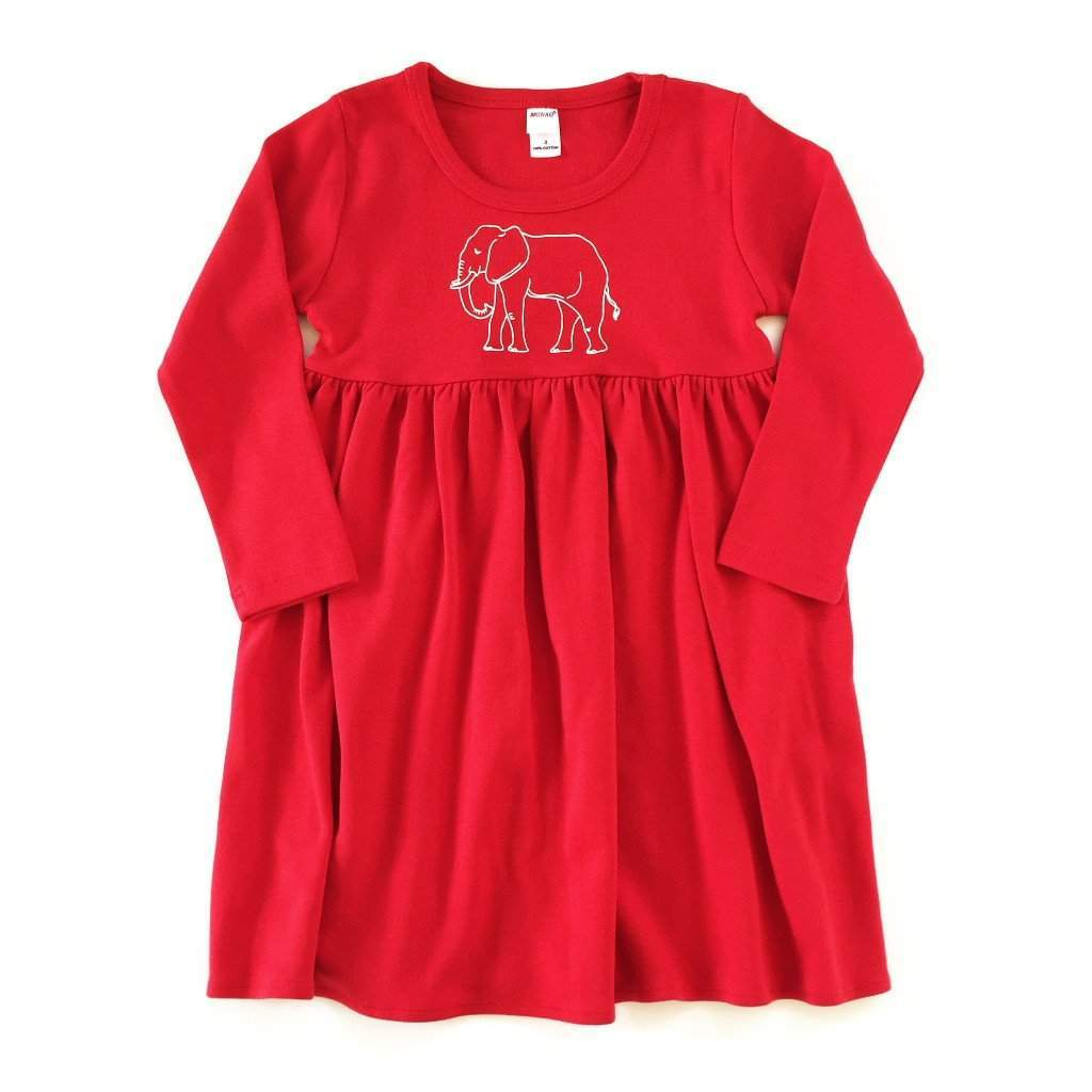 Elephant Long Sleeve Dress - Honey Bee Tees