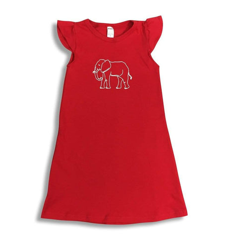 Elephant Red Flutter Sleeve Dress