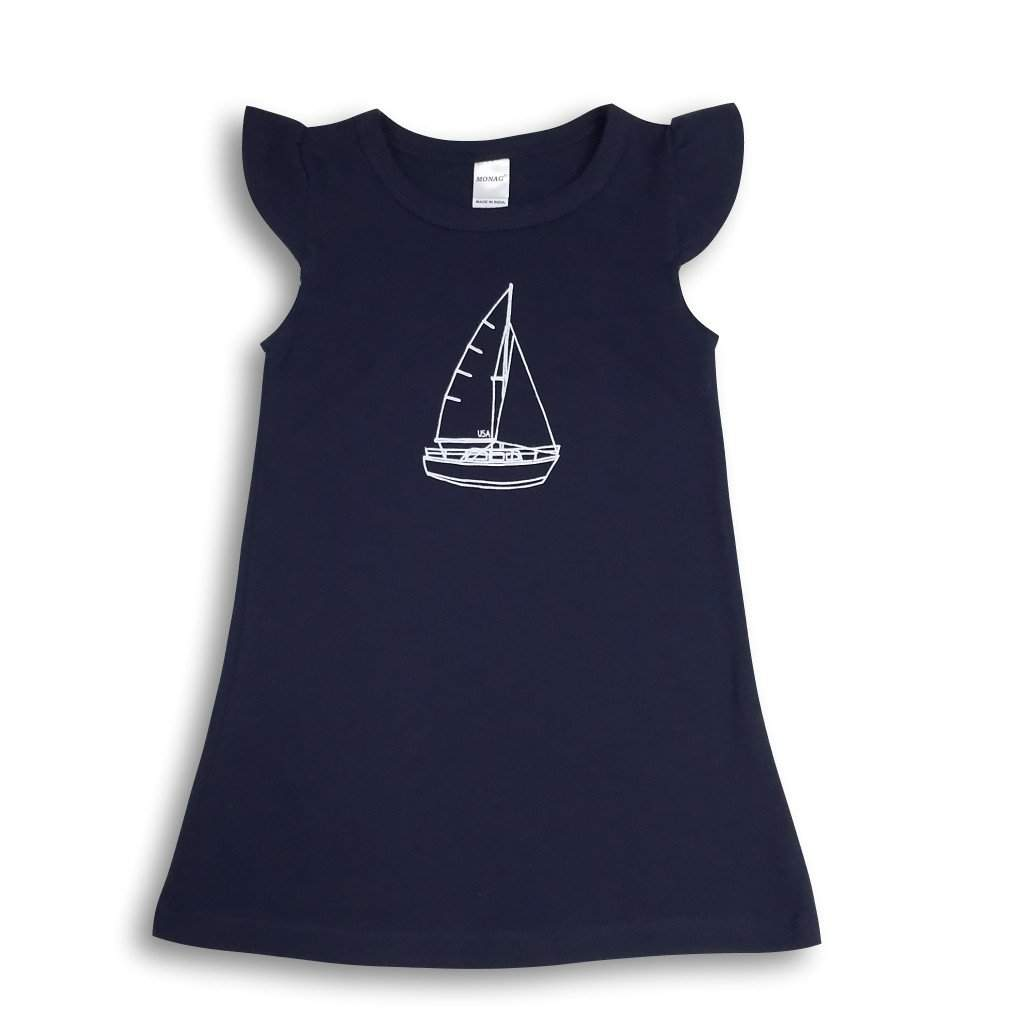 Sailboat Flutter Sleeve Dress - Honey Bee Tees