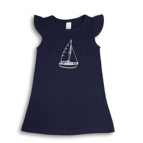 Sailboat Flutter Sleeve Dress