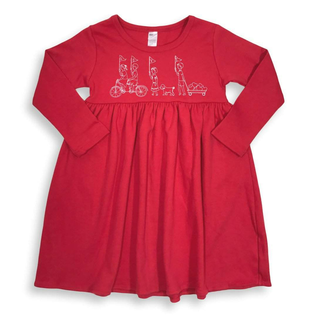 Valentine's Parade Long Sleeve Dress - Honey Bee Tees - 1