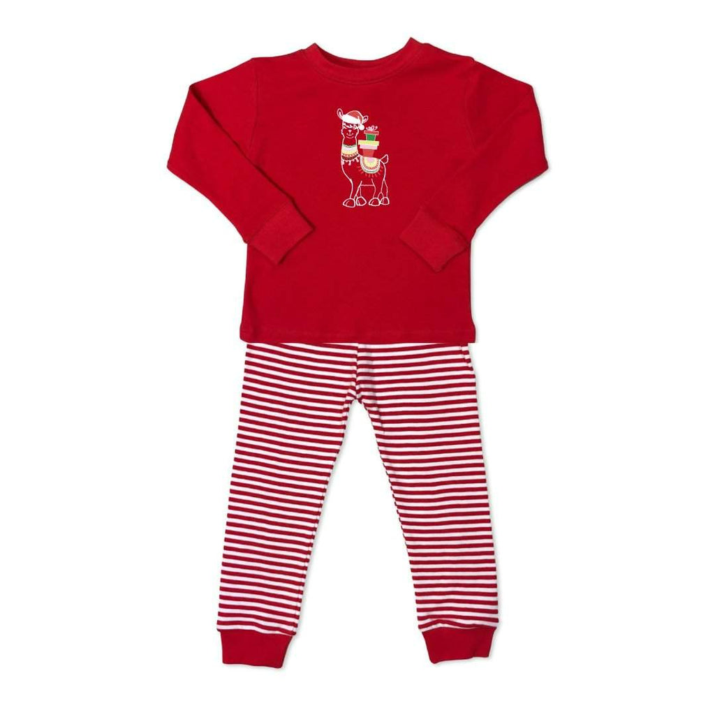 Fa-la-la-llama Long Sleeve Striped Sleepwear