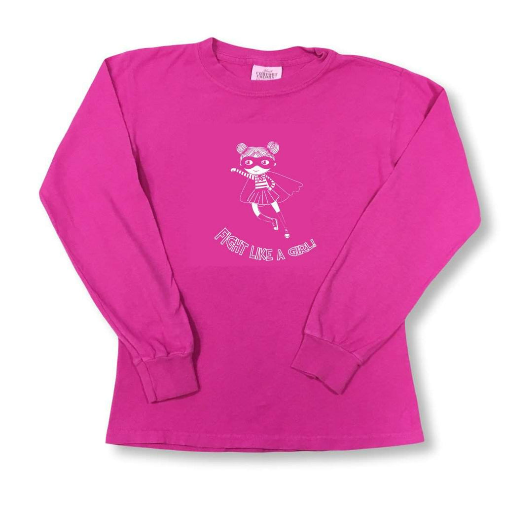 Fight Like a Girl Adult Long Sleeve Tees - Breast Cancer Awareness