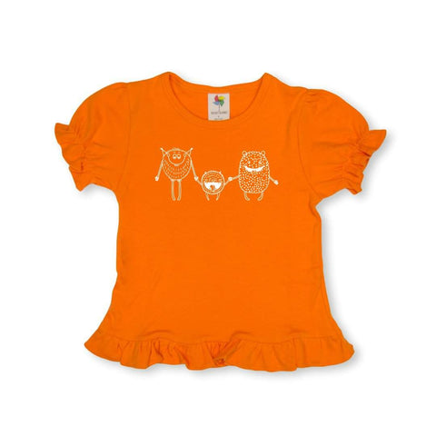 Friendly Monster Short Sleeve Ruffle Tee