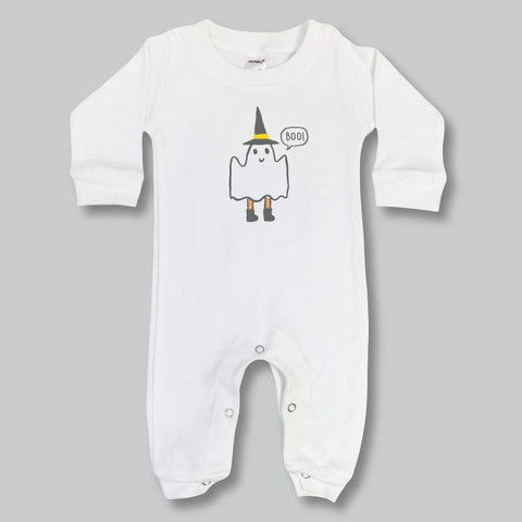 Friendly Ghost Long Sleeve Infant Romper