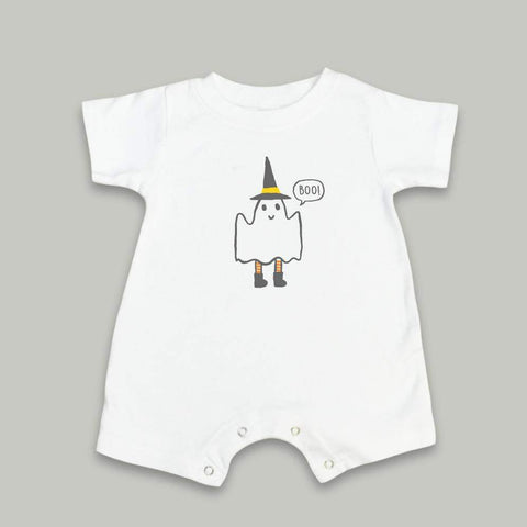 Friendly Ghost Short Sleeve Infant Romper