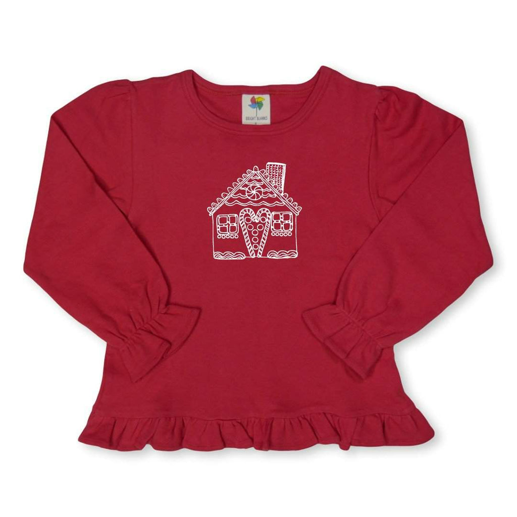 Gingerbread House Long Sleeve Ruffle Tee