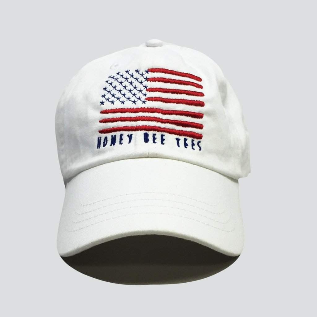 Flag Children's White Twill Hat - Honey Bee Tees - 1