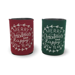 Merry Christmas & Happy New Year Koozie - Honey Bee Tees - 1