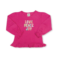 Peace Love Joy Long Sleeve Ruffle Tee