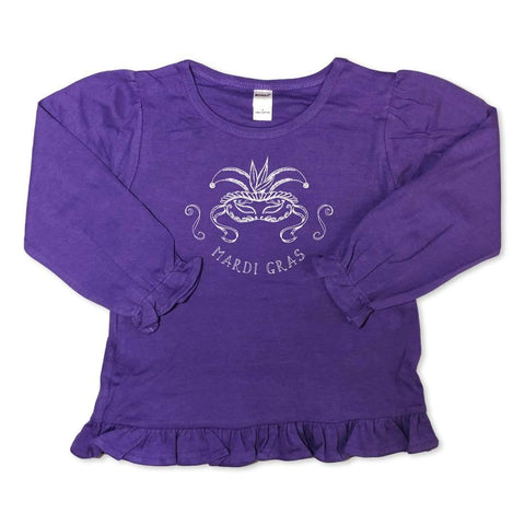 Mardi Gras Mask Long Sleeve Ruffle Tee