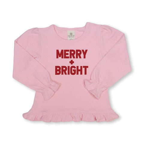Merry & Bright Long Sleeve Ruffle Tee