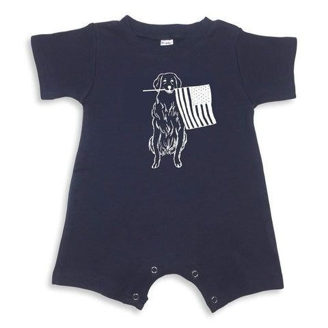 Patriotic Pup Short Sleeve Infant Romper