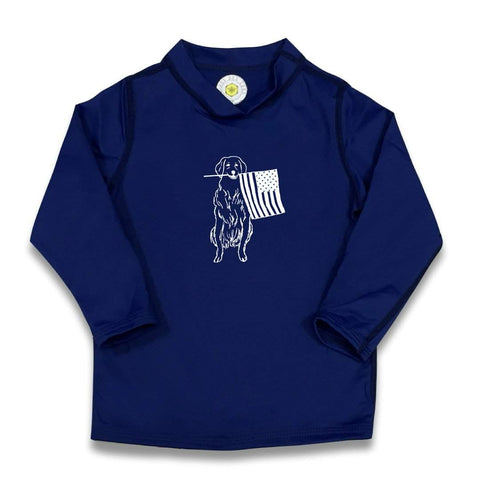 Patriotic Pup Long Sleeve Rash Guard UPF 50+