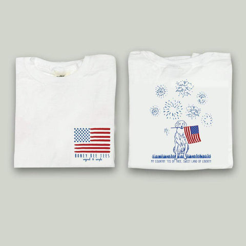 Patriotic Pup with Fireworks Adult Tee