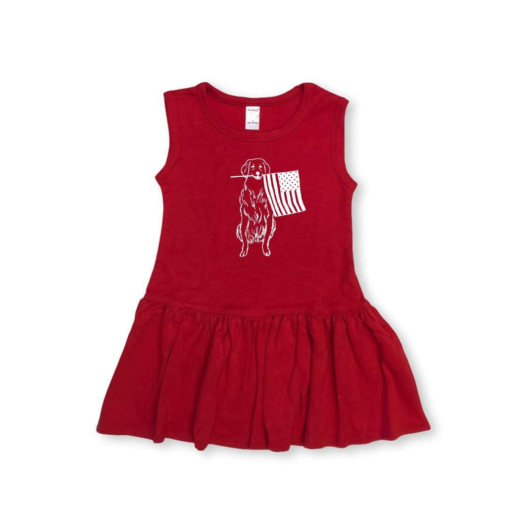 Patriotic Pup Sleeveless Pleated Dress