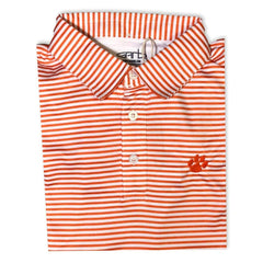 Tiger Paw Print Orange Striped Polo