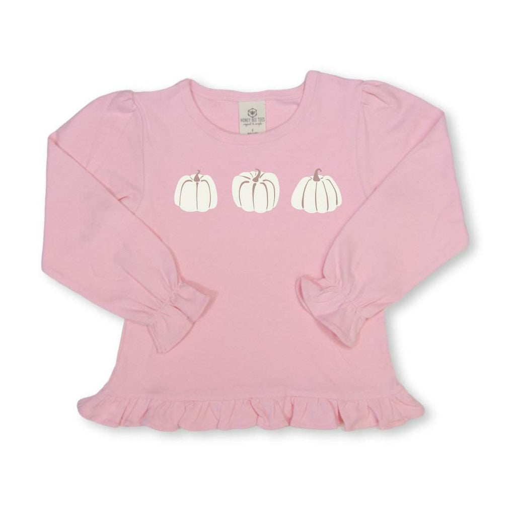Pumpkin Trio Long Sleeve Ruffle Tee