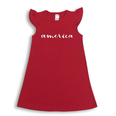 America Flutter Sleeve Dress