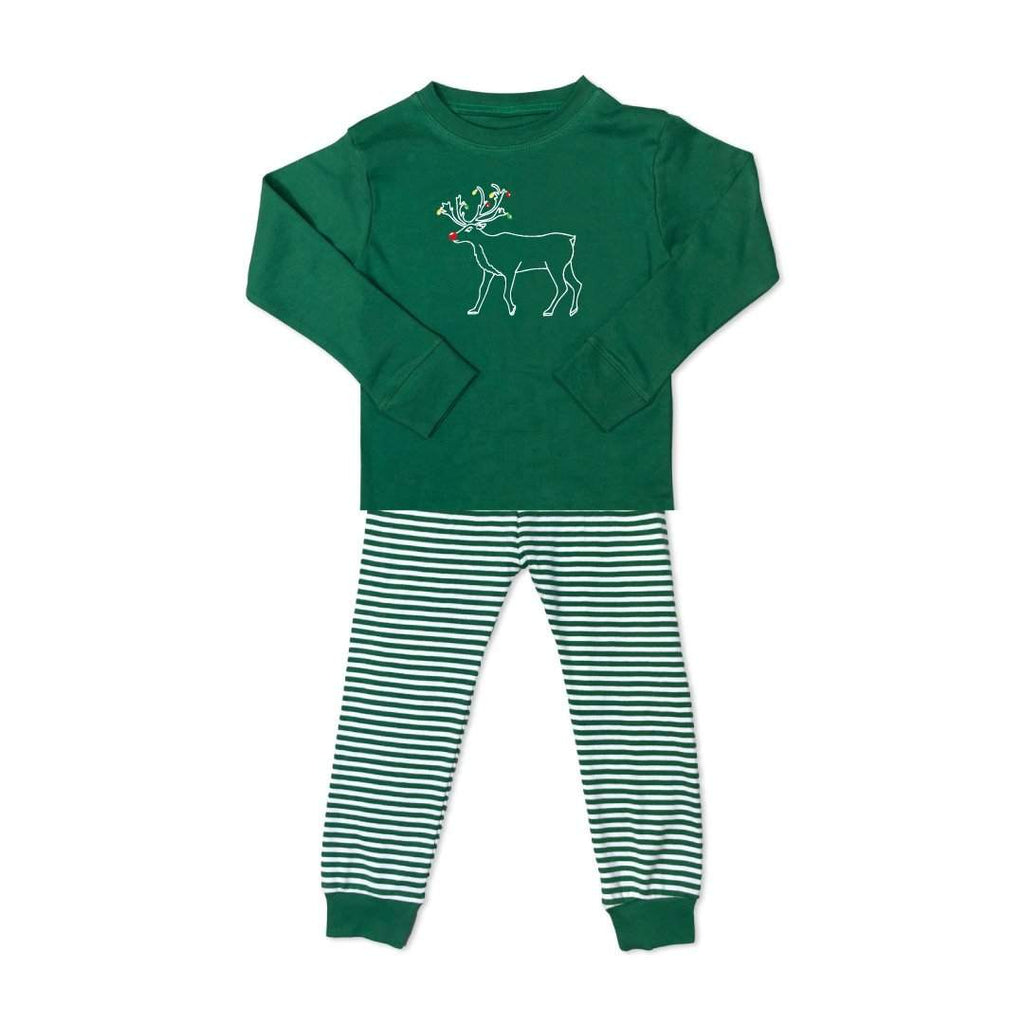 Reindeer Long Sleeve Striped Sleepwear