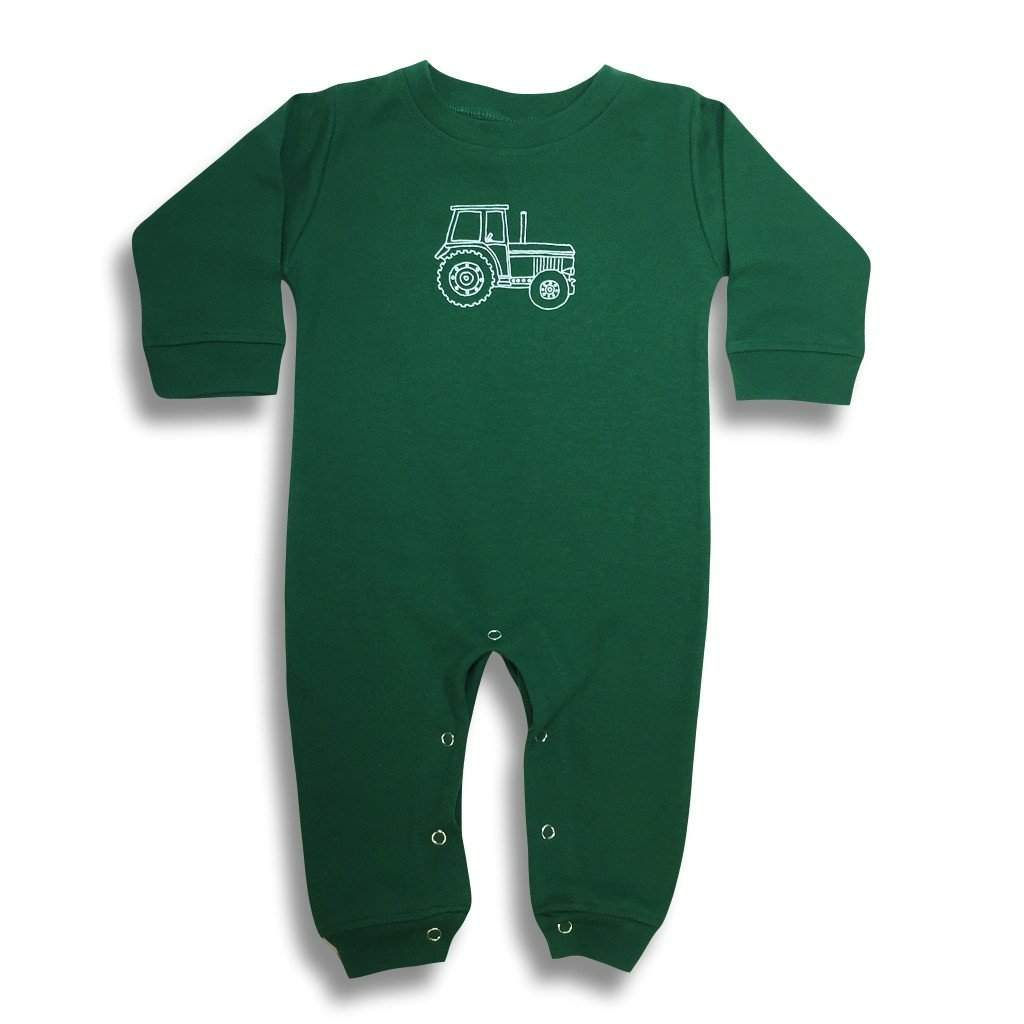 Big Green Tractor Long Sleeve Infant Romper - Honey Bee Tees