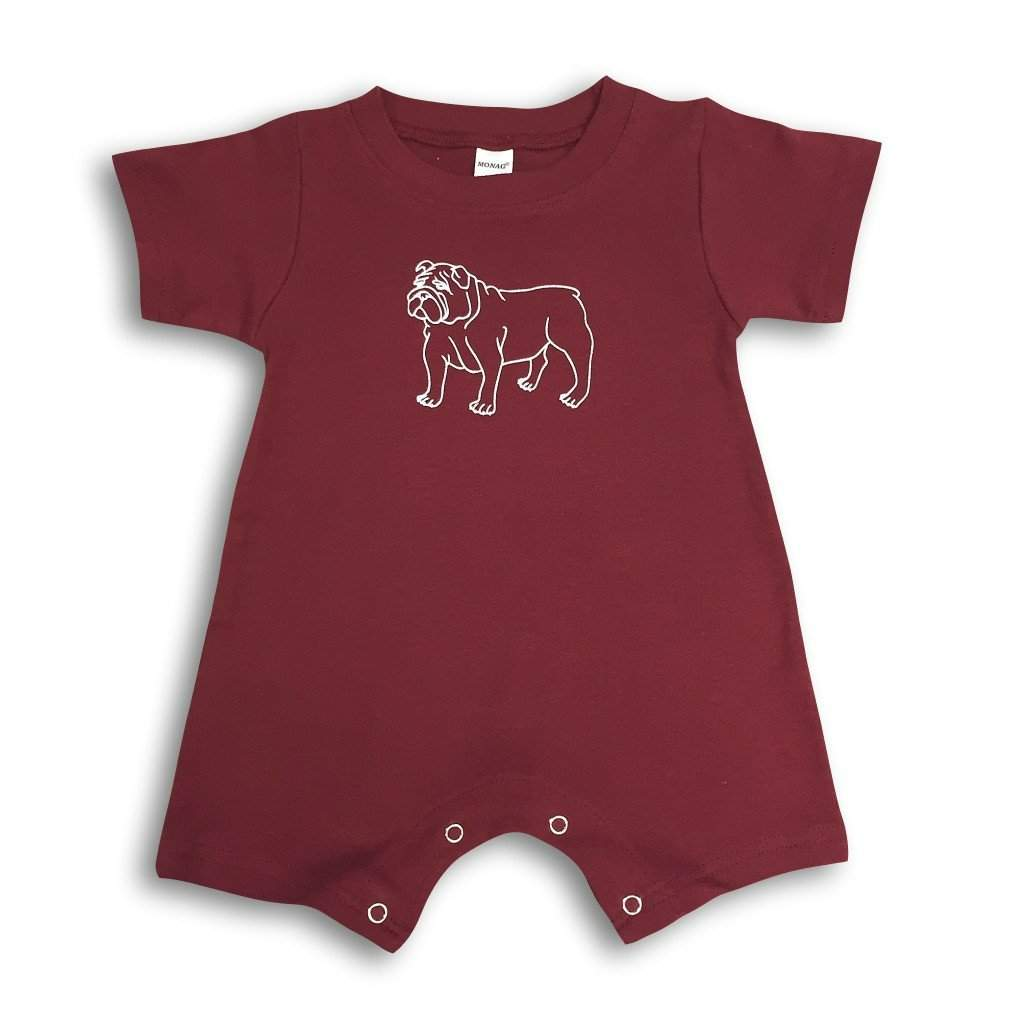 Bulldog Maroon Short Sleeve Infant Romper - Honey Bee Tees