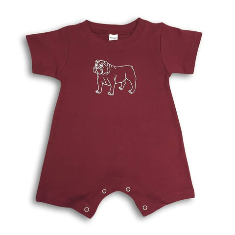 Bulldog Maroon Short Sleeve Infant Romper