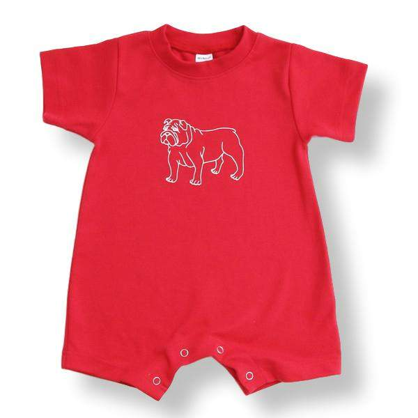 Bulldog Red Short Sleeve Infant Romper - Honey Bee Tees