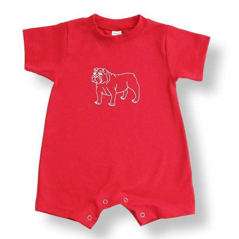 Bulldog Red Short Sleeve Infant Romper