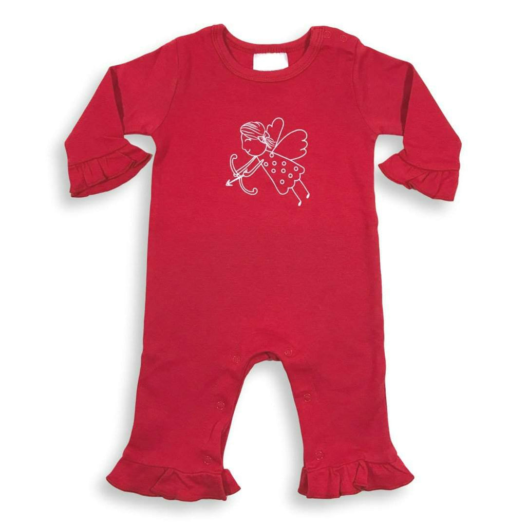 Cupid Long Sleeve Ruffle Infant Romper - Honey Bee Tees - 1