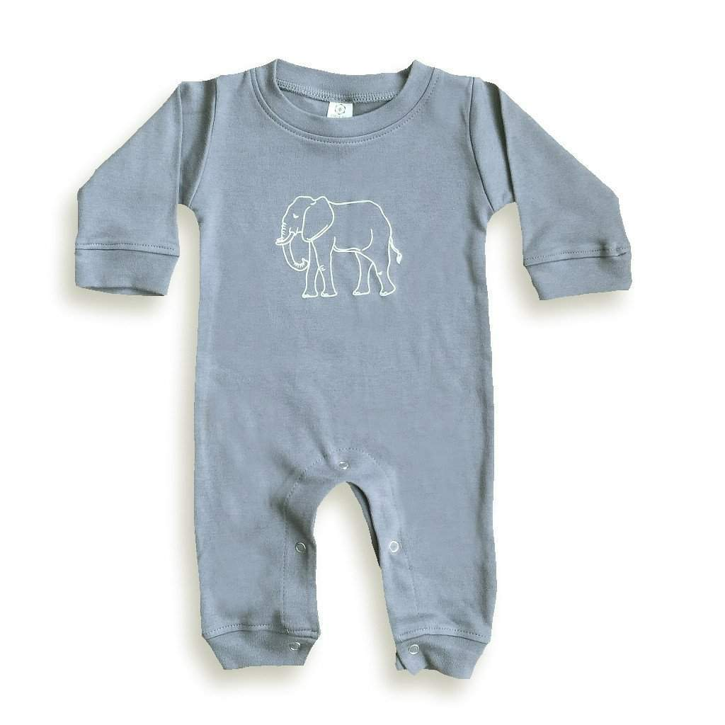 Elephant Long Sleeve Infant Romper - Honey Bee Tees