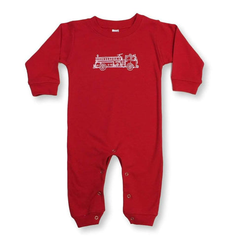 Fire Truck Long Sleeve Infant Romper