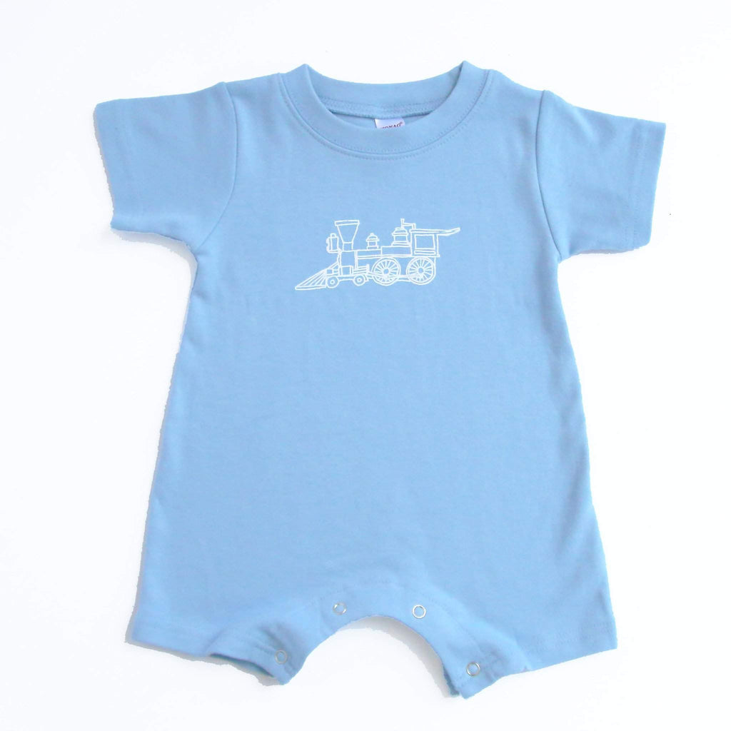 Steam Engine Short Sleeve Infant Romper - Honey Bee Tees
