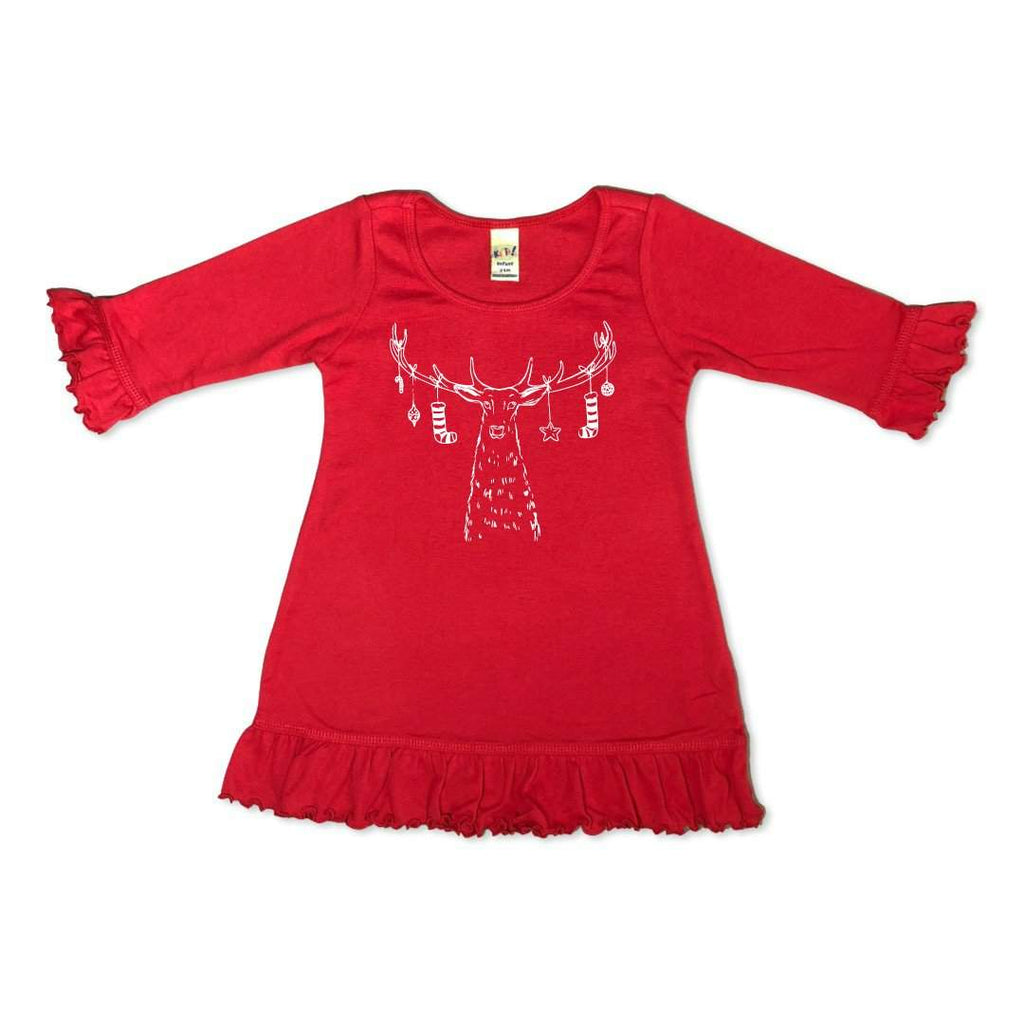 Santa's Reindeer 3/4 Ruffle Dress