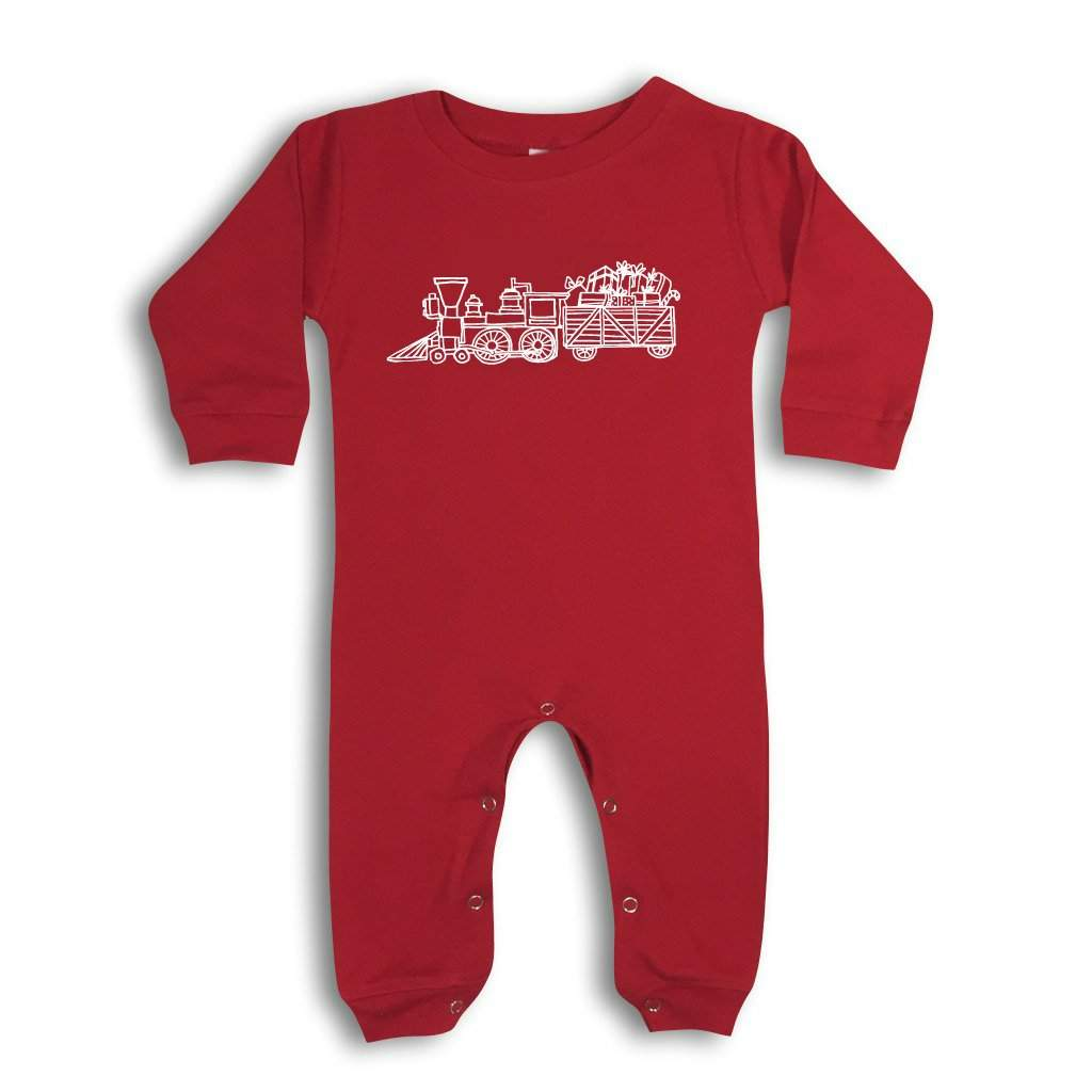 Santa's Steam Engine Long Sleeve Romper