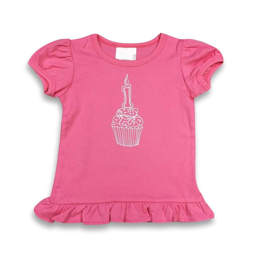 1st Birthday Pink Short Sleeve Ruffle Tee - Honey Bee Tees