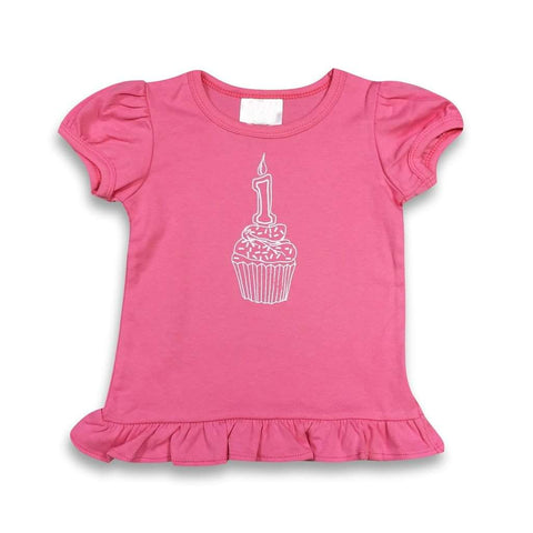 1st Birthday Pink Short Sleeve Ruffle Tee